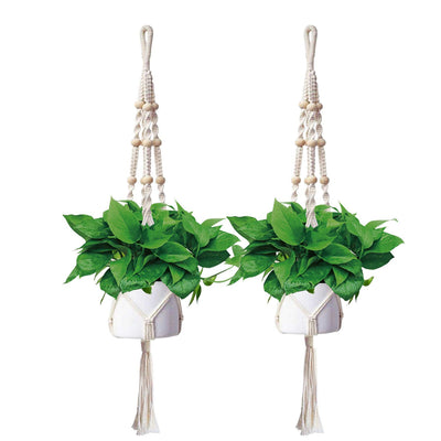 AngLink Macrame Hanging Plant Holders, 48 Inches (2 Packs) 4 Legs IndoorOutdoor - AngLinks
