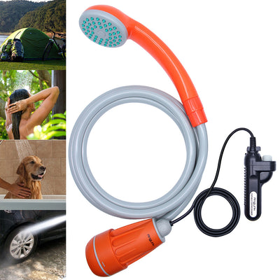 Upgraded Portable Camping Shower, Battery Powered Outdoor Shower for Outdoors, Camping, Pet Cleaning, Car Washing, Plants Watering - Turns Water from Bucket/Sink Into Steady, Gentle Stream - AngLinks