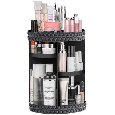 Ommani 360 Rotating Makeup Organizer, Acrylic Adjustable Spinning Cosmetic Organizer Multi Tiered Beauty Organizer Storage Large Capacity, Fits Toner, Creams, Brushes, Lipsticks, Round, Black