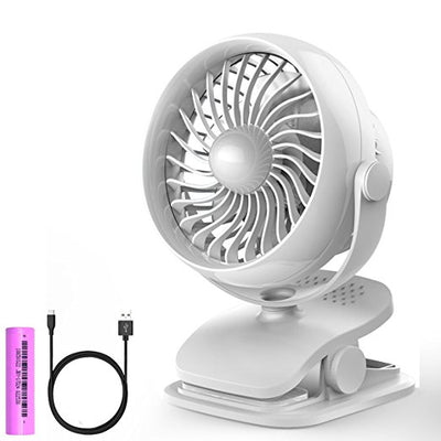 Clip on Fan, USB or 2600mAh Rechargeable Battery Operated Fan Small Desk Fan with 4 Speed and 360° Rotation for Table, Office, Camping, Dorm, Baby Stroller - AngLinks