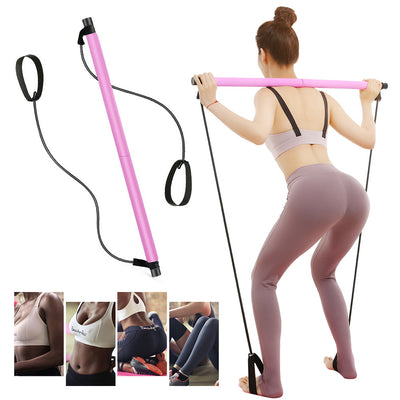 Portable Pilates Bar Kit Exercise Resistance Band Yoga Pilates Stick Pilates Stick Muscle Toning Bar Home Gym with Foot Loop for Total Body Workout
