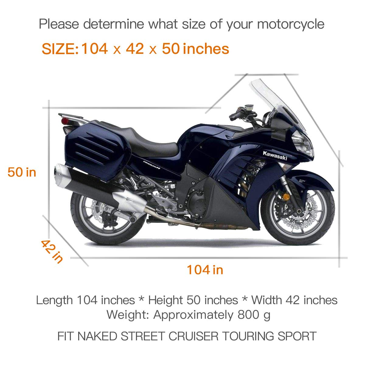 96 Inch Iptienda Waterproof Motorcycle Cover,XX-Large Windproof Motorbike Dust Cover All Weather Outdoor Protection,210D Oxford Durable with Storage Bag for Harley Davidson Motorcycles Vehicle Cover