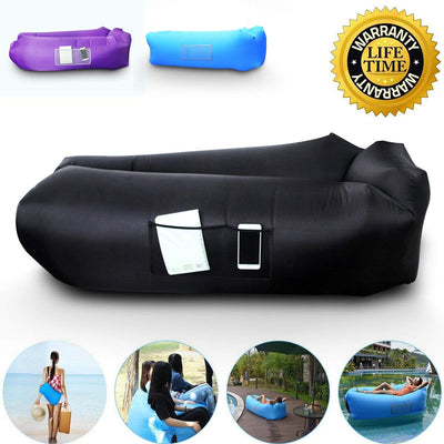 Anglink Outdoor Inflatable Lounger Couch, Thick Durable Comfortable, Air Sofa Blow Up Lounge Sofa(Black) - AngLinks