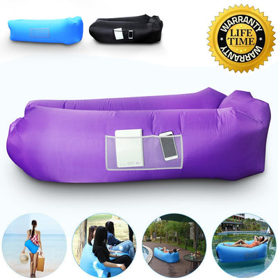 Anglink Outdoor Inflatable Lounger Couch, Thick Durable Comfortable, Air Sofa Blow Up Lounge Sofa(Purple) - AngLinks