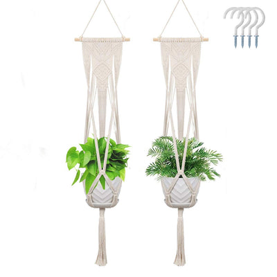 2  Pack Macrame Plant Hangers Boho Home Decor Hanging Planters with 4 Hooks - AngLinks