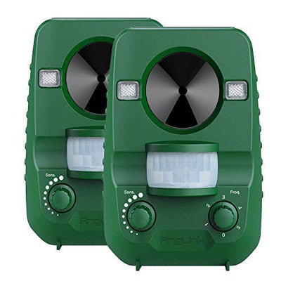 Outdoor Ultrasonic Cat Repeller, 2019 Upgraded Solar Powered Animal Repellent with Motion Sensor and Strobe Lights - AngLinks