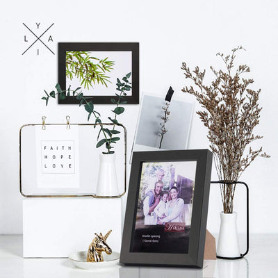 Anglink 4x6 Picture Frame Black Made of MDF and High Definition Glass for Tabletop Display and Wall Mounting Photo Frames - AngLinks