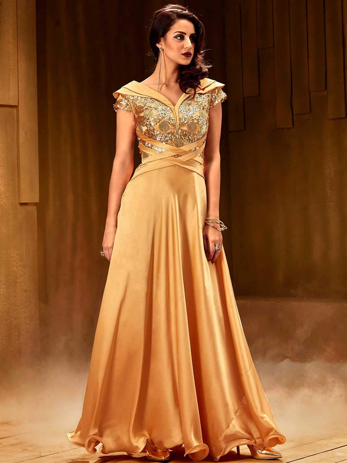 Fusion Cross Golden Gown – Khwaab.us