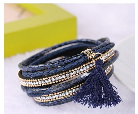 Navy blue braided bracelet with tassel