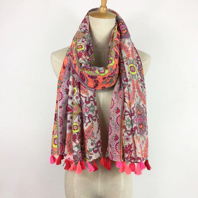 Coral & Green scarf