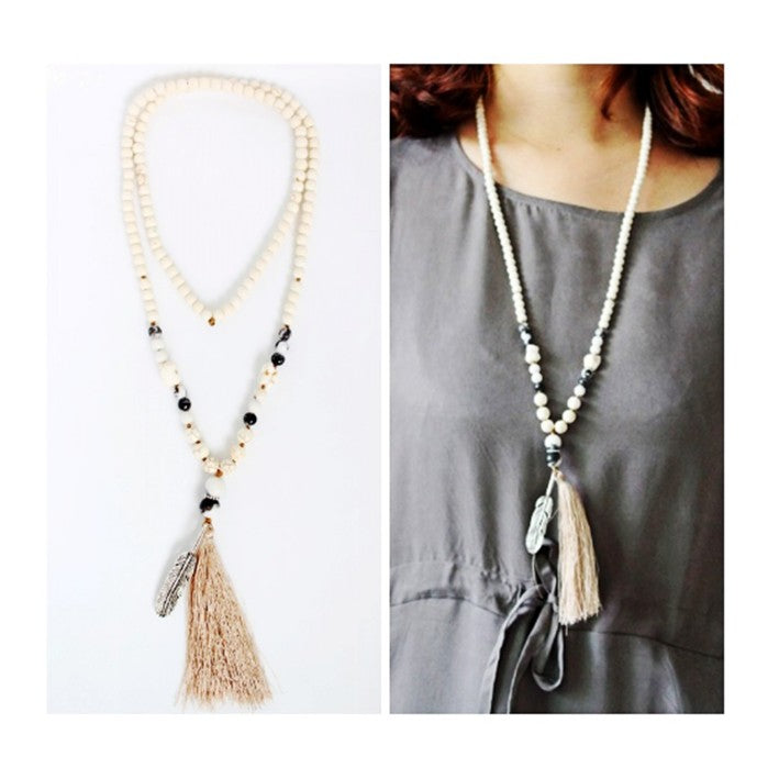 White beads necklace w tassel