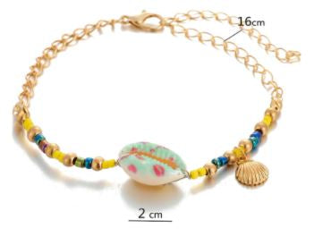 Shell Scallop Anklet With Beads Chain