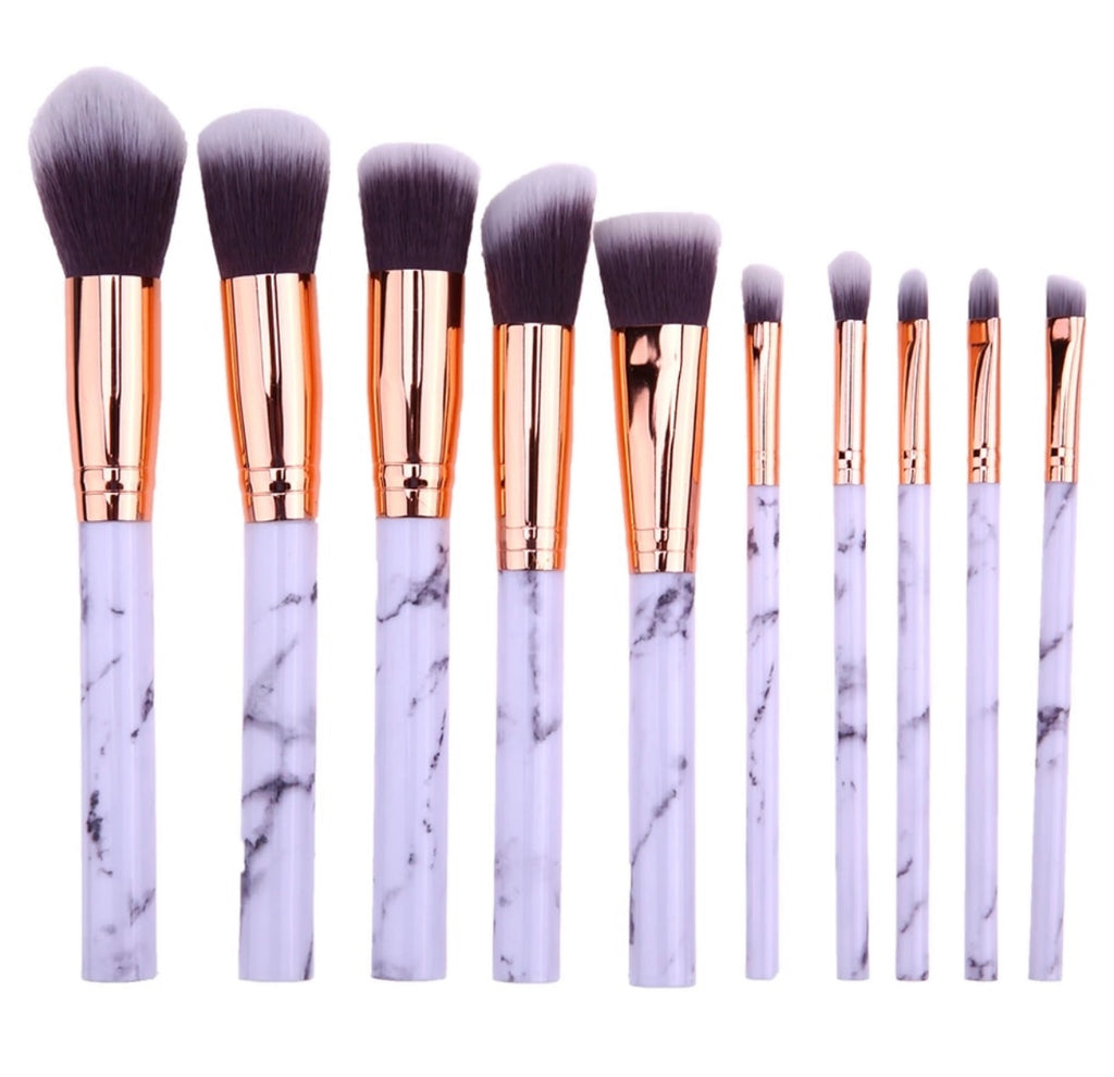 Set of 10 brushes with marble handle
