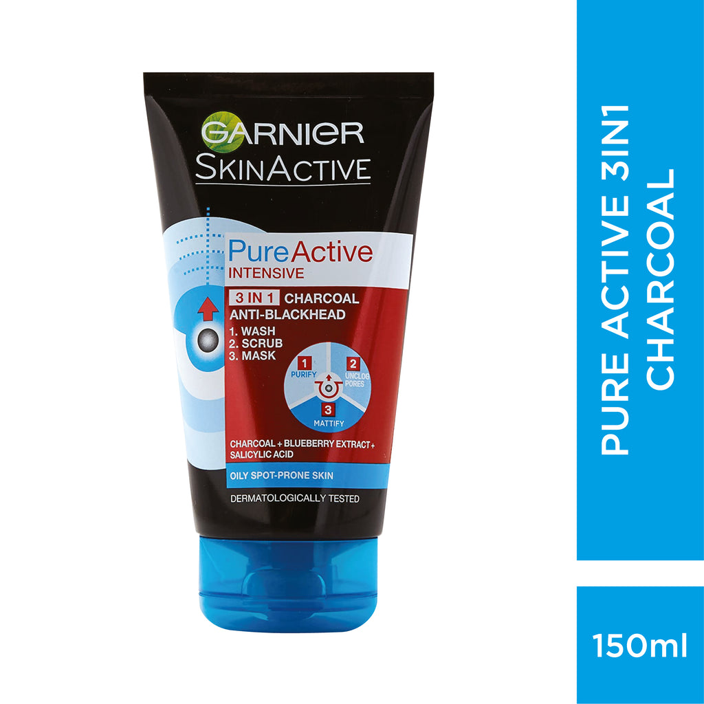Garnier PURE ACTIVE INTENSIVE 3 IN 1 CHARCOAL BLACKHEAD MASK WASH SCRUB