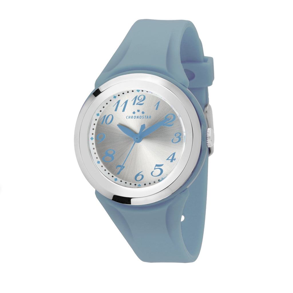 Chronostar Teenager Silver Dial Blue Strap Watch 3751262505