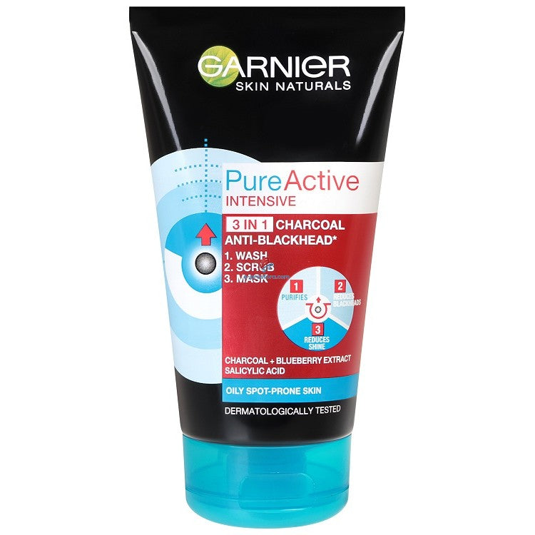 Garnier PURE ACTIVE INTENSIVE 3 IN 1 CHARCOAL BLACKHEAD MASK WASH SCRUB | MyKady | Lebanon