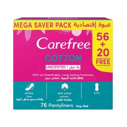 Carefree Normal Cotton Fresh Panty Liners 76 Pieces-MyKady