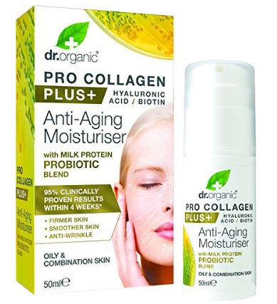 Dr. Organic Pro Collagen Plus Anti-Aging Moisturiser with Milk Protein Probiotic Blend 50ml