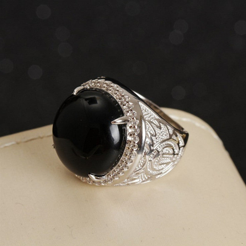 silver natural gemstone ring fine