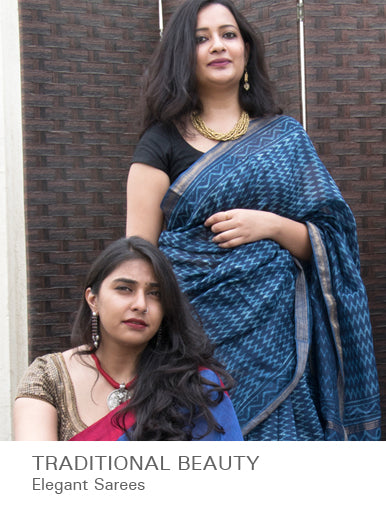 Traditional Beauty - Elegant Sarees available at The India Craft House