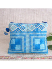 2 toned Blue Square Emb Pouch