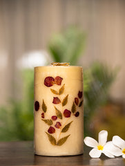 Aromatic Pondicherry Wax Pillar Candle - (Large) Rose