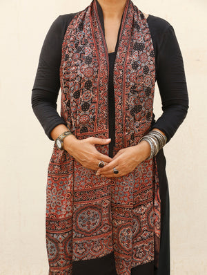 Ajrakh Hand Block Printed Modal Silk Stole - The India Craft House