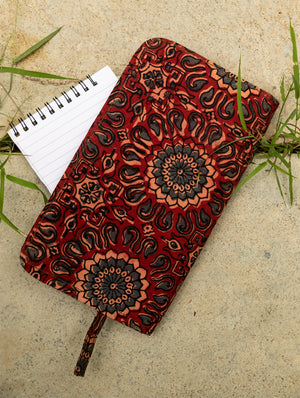 Ajrakh / Handloom Fabric - Multi-Compartment Wallet Bag - The India Craft House