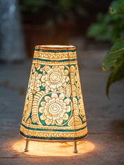 Andhra Leather Craft - Painted Standing Lamp, Small