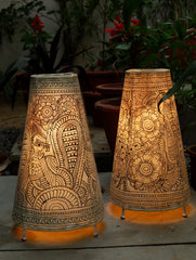 Andhra Painted Leather Craft -  Standing Lamp Shade, Peacocks (Set of 2)
