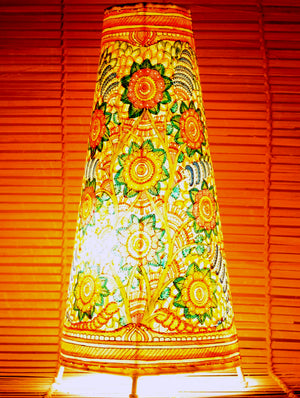 Andhra Leather Craft - Painted Standing Lamp, Floral, Medium - The India Craft House