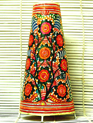 Andhra Leather Craft - Painted Standing Lamp, Floral, Medium - The India Craft House 1