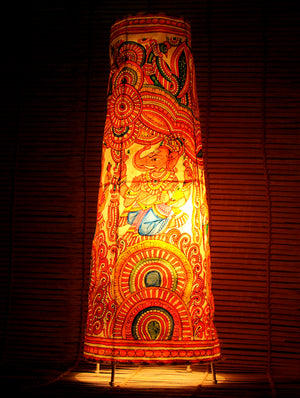 Andhra Leather Craft - Painted Standing Lamp, Ganesh, Large - The India Craft House