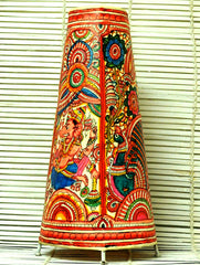 Andhra Leather Craft - Painted Standing Lamp, Ganesh, Medium