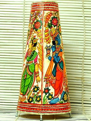 Andhra Leather Craft - Painted Standing Lamp, Krishna Radha, Medium - The India Craft House 1