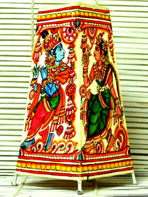Andhra Leather Craft - Painted Standing Lamp, Krishna Radha, Small - The India Craft House 1