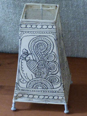 Andhra Leather Craft - Painted Standing Lamp, Small - The India Craft House