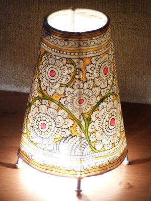 Andhra Leather Craft - Painted Standing Lamp, Small - The India Craft House 1