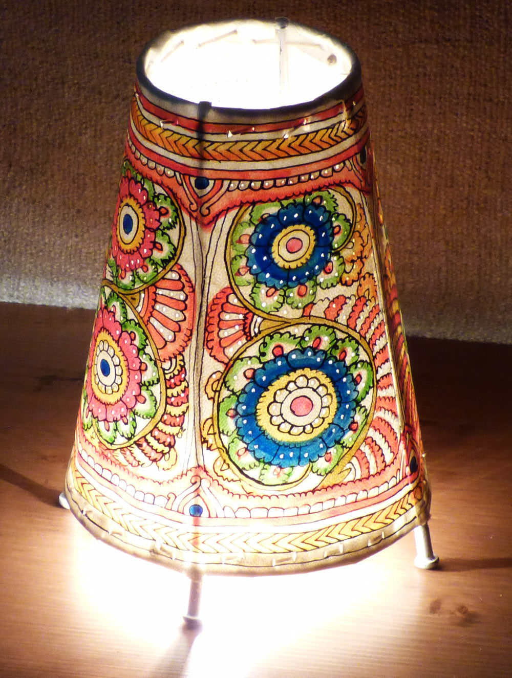 Lamps lamp shades the india craft house andhra leather craft painted standing lamp small the india craft house aloadofball Image collections