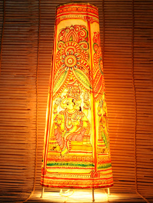 Andhra Leather Craft - Painted standing Lamp, Ganesh, Large - The India Craft House 1