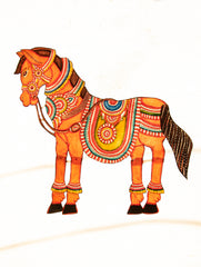 Andhra Leather Painted String Puppet - Horse