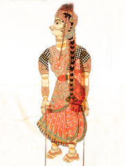 "Andhra Leather Painted String Puppet (Lifesize 58"" x 18"") - Sita"