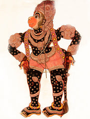 "Andhra Leather Painted  String Puppet (Lifesize 58"" x  22"") - Lord Hanuman"
