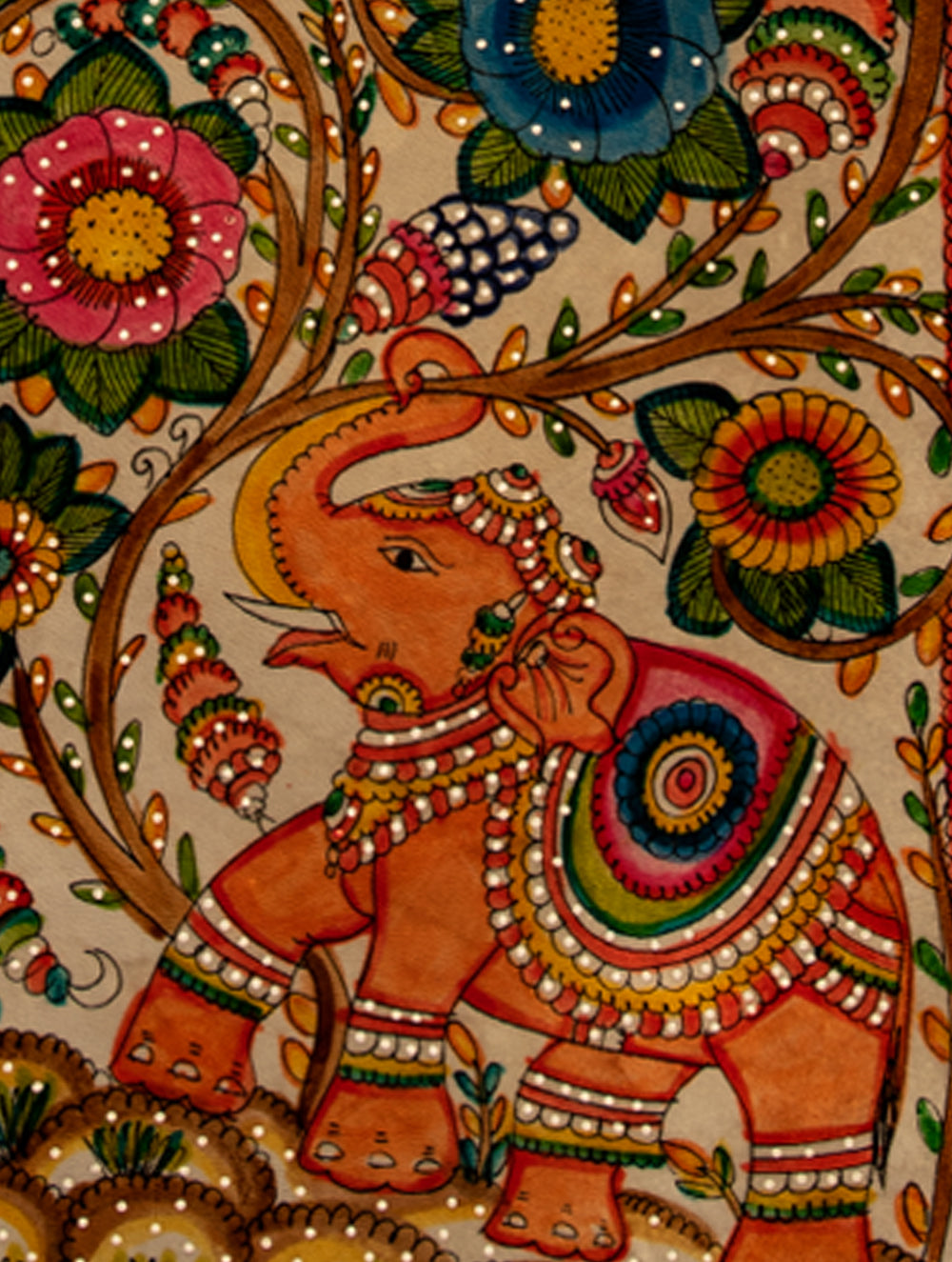 Andhra Leather Painted Wall Piece - Long Panel (Floral)