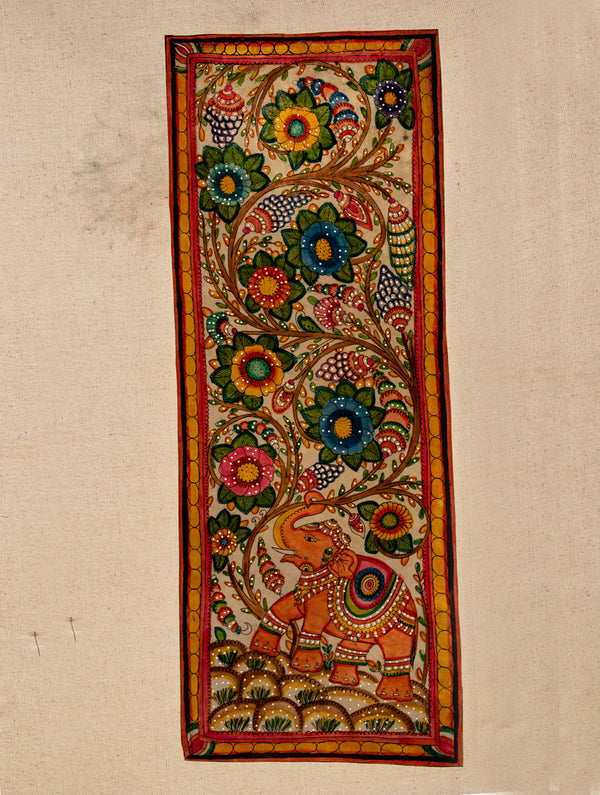Andhra Leather Painted Wall Piece - Long Panel (Floral) - The India Craft House