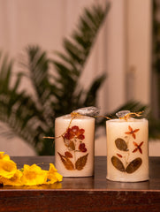 Aromatic Pondicherry Wax Candles - Jasmine (Set of 2)