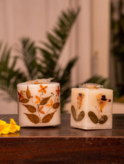 Aromatic Pondicherry Wax Candles - Lavender & Sandalwood (Set of 2)