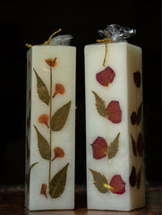 Aromatic Pondicherry Wax Pillar Candles - (Set of 2) - Rose & Lily