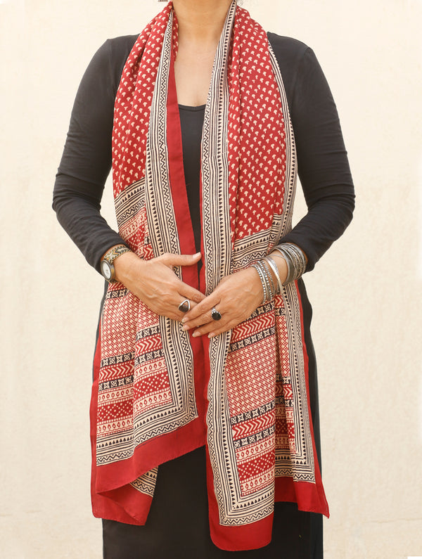 Bagh Hand Block Printed - Pure Crepe Silk Stole - The India Craft House