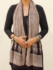 Bagh Hand Block Printed - Pure Crepe Silk Stole. Paisleys
